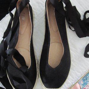J.Jill ballerina black suede espadrille flats 8.5